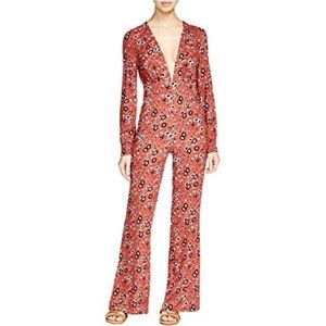 Free People Jumpsuit Some Like It Hot Rust Print